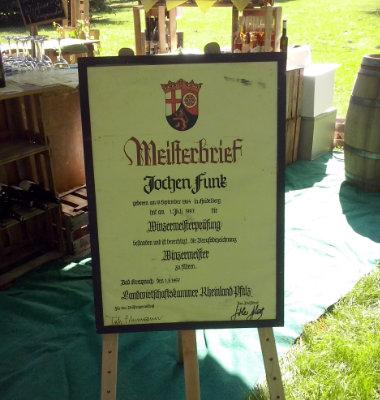 Meisterbrief Winzermeister Jochen Funk Rheinland Pfalz