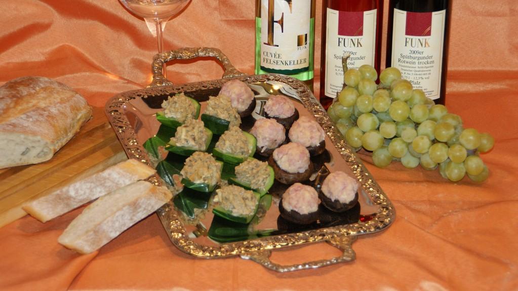 Wein Hicks - Gefüllte Zucchini und gefüllte Champignons