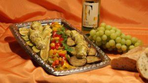 Wein Hicks - Peperonata, Paprika gedünstet, gegrillte Auberginen