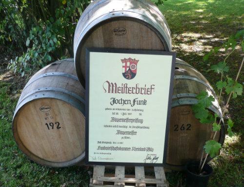 Winzermeister Jochen FUNK - Meisterbrief - Wein Hicks Paderborn-Sande